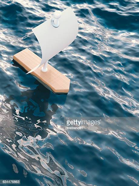 3d rendering, sailing boat - head above water stock illustrations