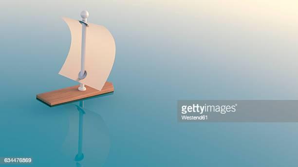 3d rendering, sailing boat - 人里離れた点のイラスト素材/クリップアート素材/マンガ素材/アイコン素材