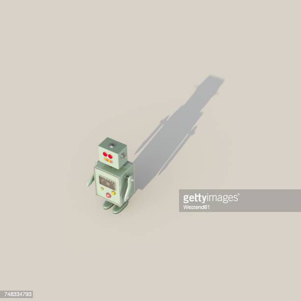 3d rendering, single robot casting shadow - automated stock illustrations