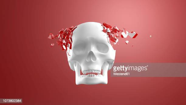 3d rendering, skull bursting into pieces in front of red background - destruction stock illustrations