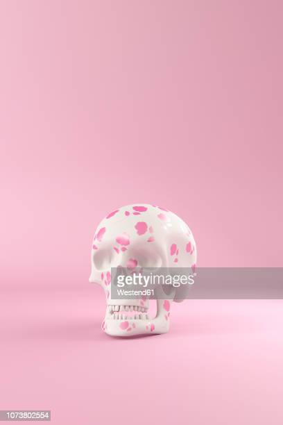 3d rendering, skull decorated with pink roses in front of pink background - rotting stock illustrations, clip art, cartoons, & icons