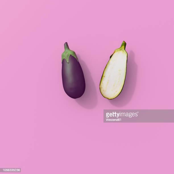 3d rendering, sliced egg plant on pink background - eggplant stock illustrations