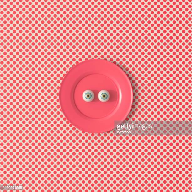 3d rendering, staring eyeballs on a red plate - staring stock illustrations