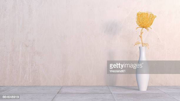 3d rendering, steam punk rose in vase on concrete, wall - concrete wall stock illustrations, clip art, cartoons, & icons