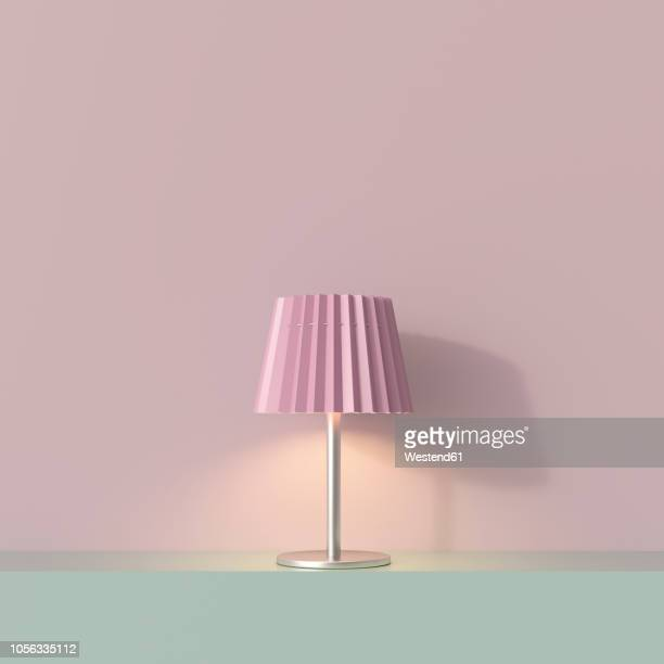 ilustraciones, imágenes clip art, dibujos animados e iconos de stock de 3d rendering, table lamp on shelf with pink lampshade - decoración objeto