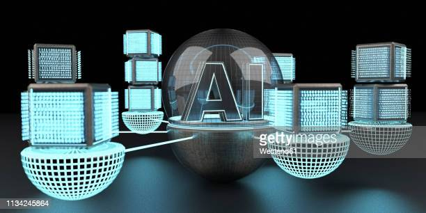 3d rendering, text ai under a glass dome connencted to a network of digital cubic units - alertness stock illustrations