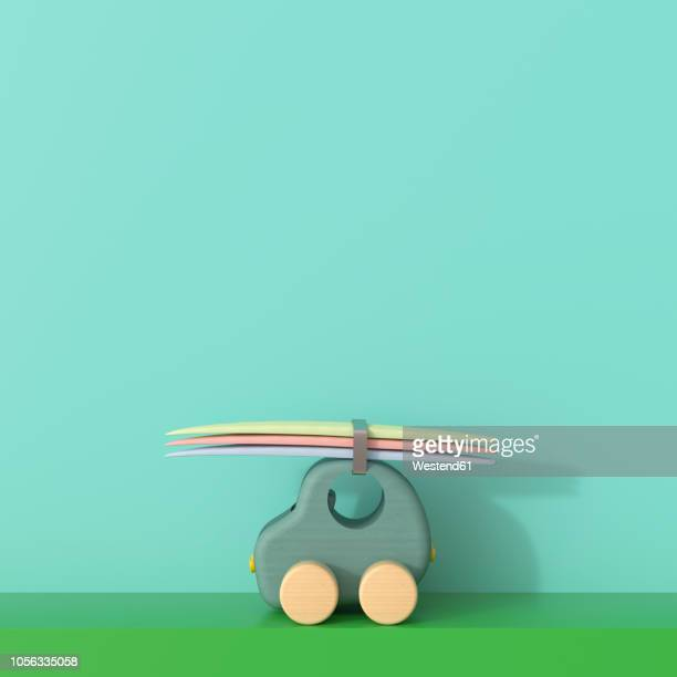 3d rendering, toy car with surfboards going on holiday - toy stock illustrations