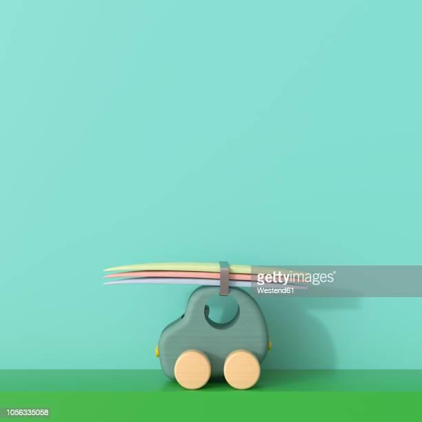 illustrations, cliparts, dessins animés et icônes de 3d rendering, toy car with surfboards going on holiday - planche de surf