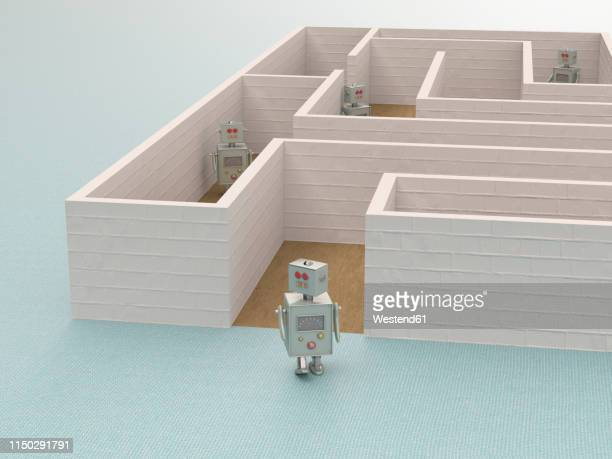 3d rendering, toy robot leaving a maze - automated stock illustrations