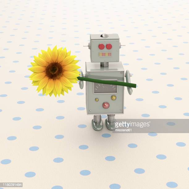 3d rendering, toy robot presenting a sunflower - giving stock illustrations
