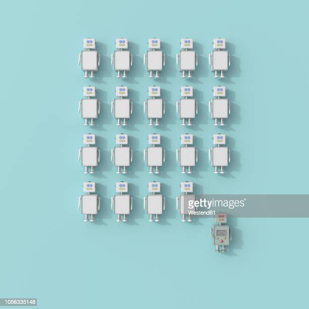 3d rendering, toy robot standing out of robot crowd - automated stock illustrations