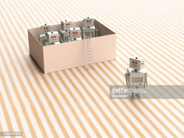 3d rendering, toy robots escaping from a box - automated stock illustrations