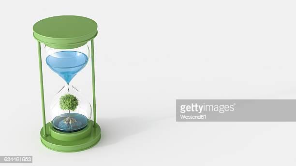 illustrazioni stock, clip art, cartoni animati e icone di tendenza di 3d rendering, tree on rock in hourglass with water - rappresentare