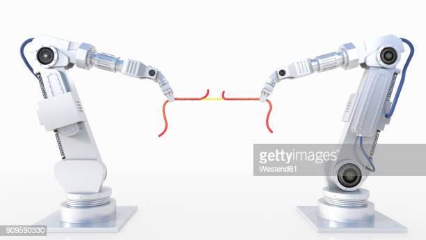3d rendering, tug-of-war between robot arms - robot arm stock illustrations