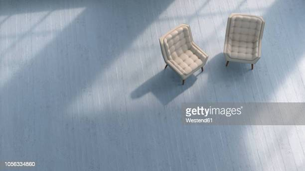 3d rendering, two chairs on concrete floor - two objects stock illustrations