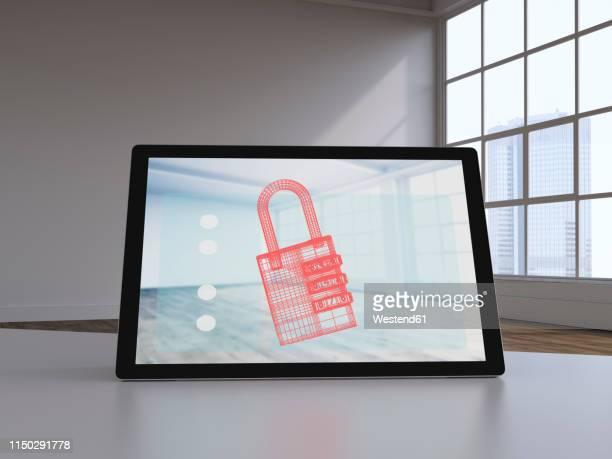 3d rendering, virtual lock on display of a digital tablet - lock stock illustrations