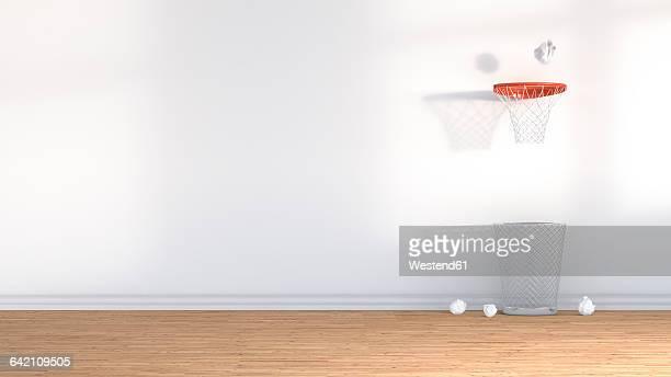 3D Rendering, wastepaper basket under basketball hoop