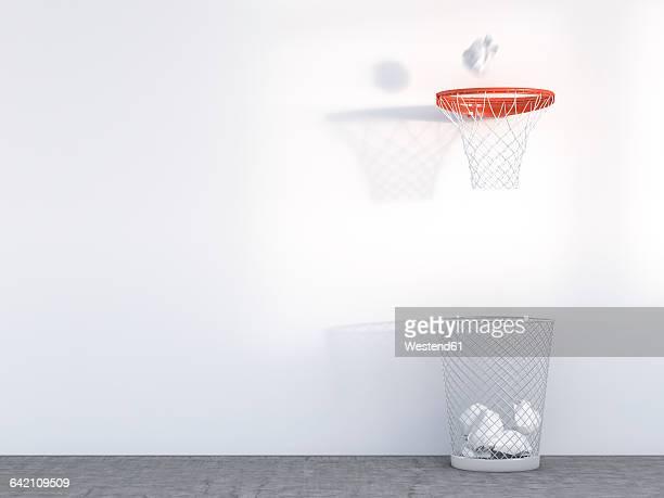3d rendering, wastepaper basket under basketball hoop, unerring - basket stock illustrations, clip art, cartoons, & icons