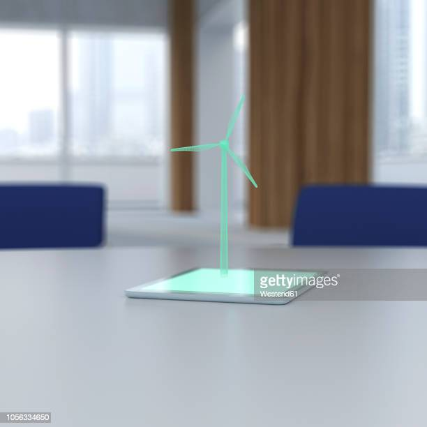 3d rendering, wind turbine coming out of digital tablet on desk - office stock illustrations