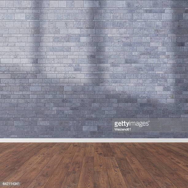 3d rendering, wooden floor and stone wall - hardwood floor stock illustrations, clip art, cartoons, & icons