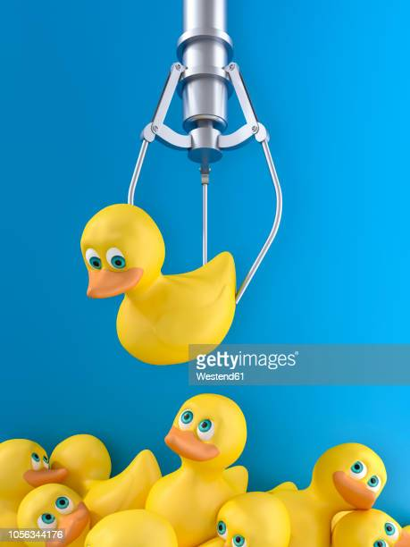 3D rendering, Yellow rubber duck hovering over pile of discarded ducks
