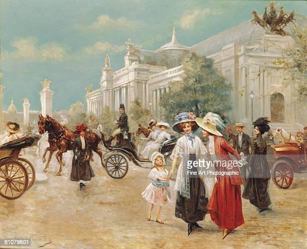 a rendez-vous near the grand palais, paris - headwear stock illustrations