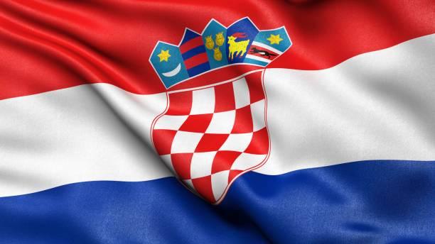 3D representation of the Croatian flag waving in the wind, Croatia
