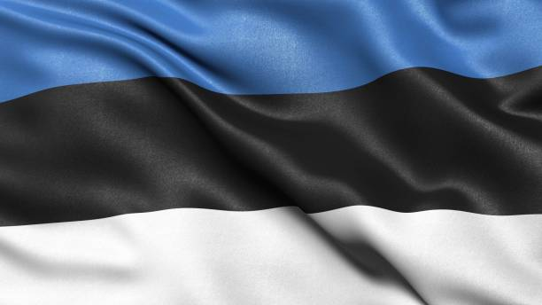 3D representation of the Estonian flag blowing in the wind, Estonia