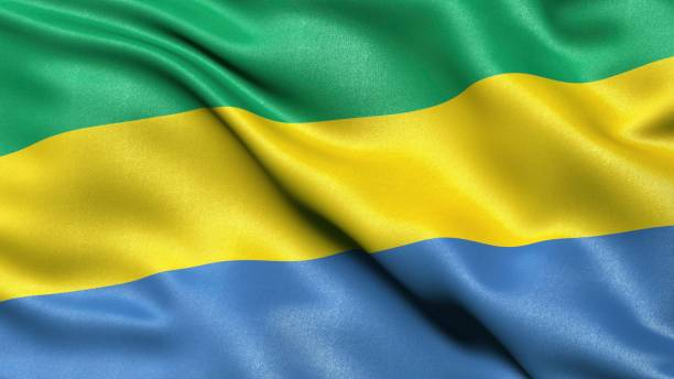 3D representation of the Gabonese flag waving in the wind, Gabon
