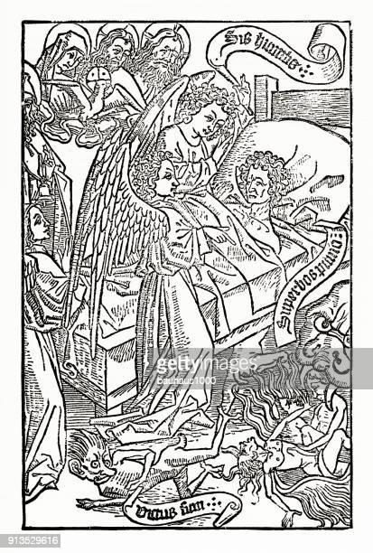 representation of the kingdom of satan christian symbolism engraving - afterlife stock illustrations, clip art, cartoons, & icons