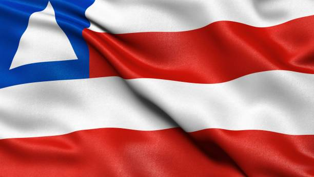 3D representation, waving flag of the state of Bahia, Brazil