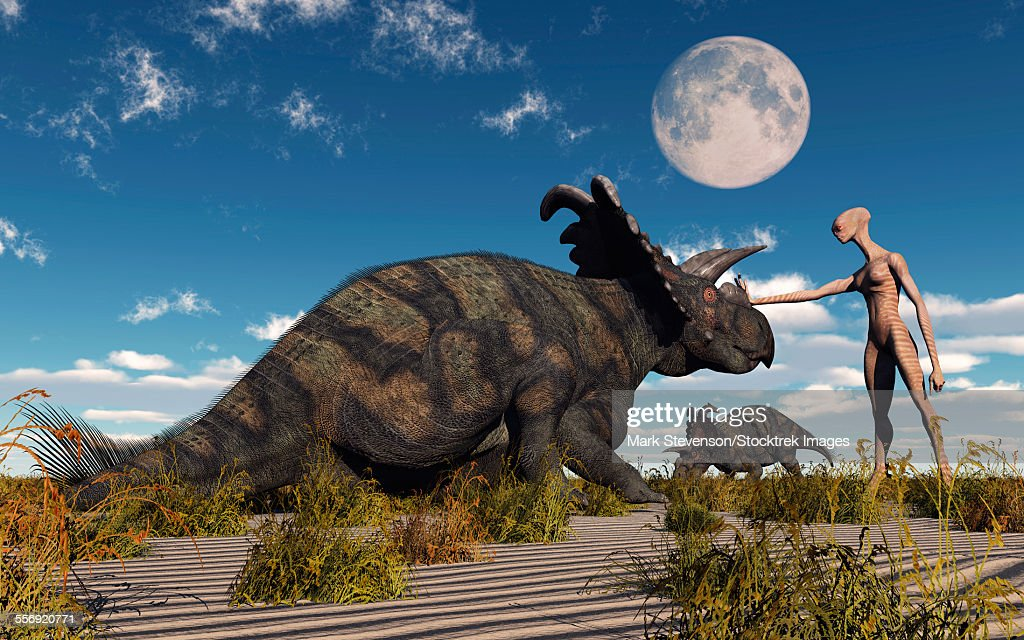A reptoid using telepathy to communicate with a Albertaceratops dinosaur. : stock illustration