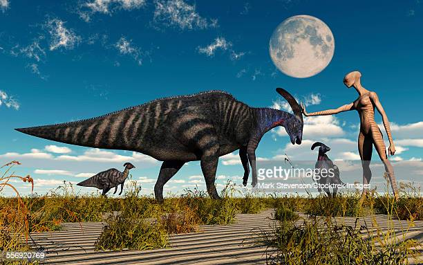 A reptoid using telepathy to communicate with a Parasaurolophus dinosaur.