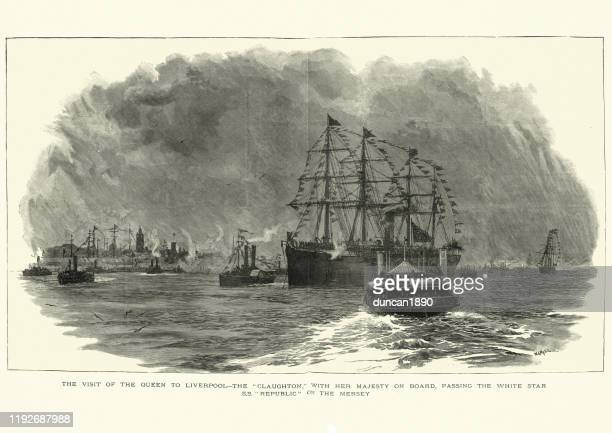 リバプール沖のss共和国海洋ライナー、19世紀 - 遠洋定期船点のイラスト素材/クリップアート素材/マンガ素材/アイコン素材
