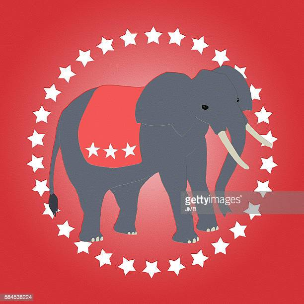 republican elephant red - us republican party stock illustrations