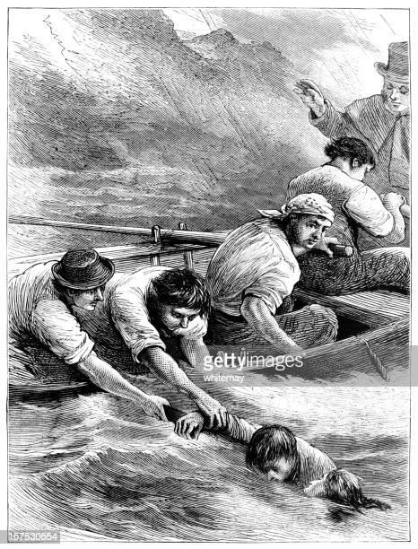 Resgate no mar-Victorian ilustrações