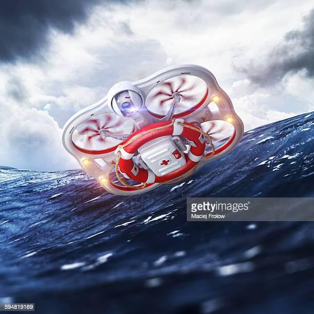 ilustraciones, imágenes clip art, dibujos animados e iconos de stock de rescue drone - drone