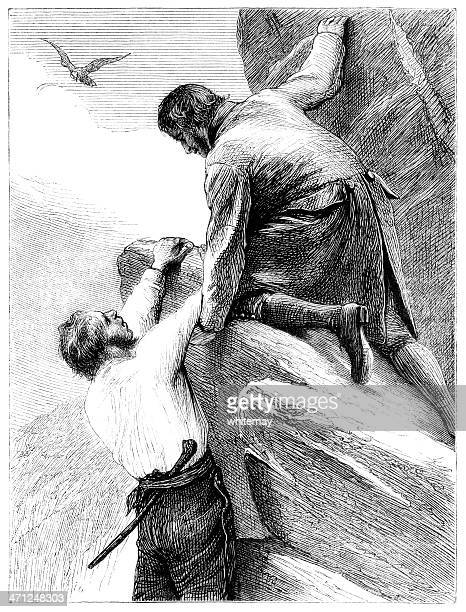 rescue from a cliff fall - victorian illustration - crag stock illustrations, clip art, cartoons, & icons
