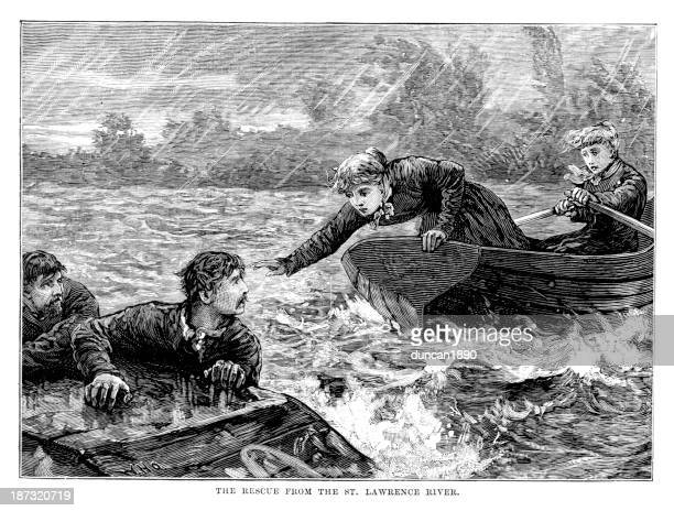 rescue from the st lawrence river - lifeboat stock illustrations