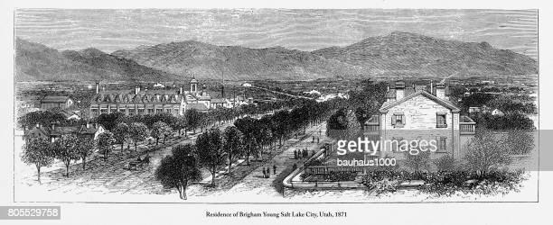 residence of brigham young salt lake city, utah engraving, 1871 - brigham young religious leader stock illustrations, clip art, cartoons, & icons