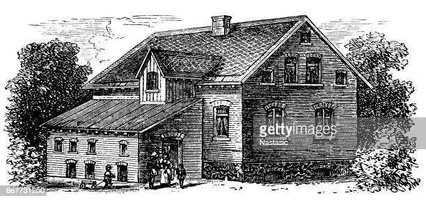 residential house for two families in bielefeld - etching stock illustrations