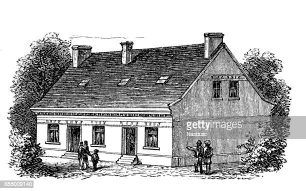 residential house for two families in hamburg - farmhouse stock illustrations
