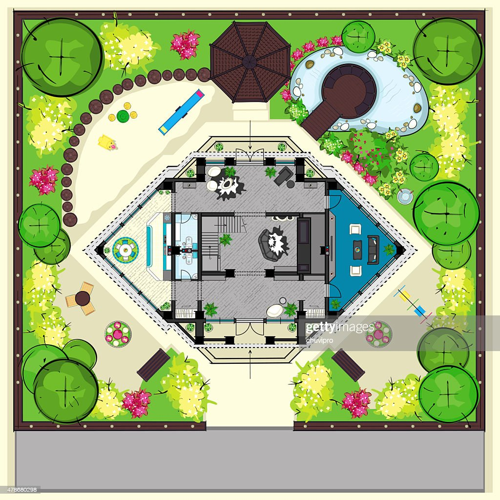 Residential House Plan With A Beautiful Garden Top View Stock Illustration