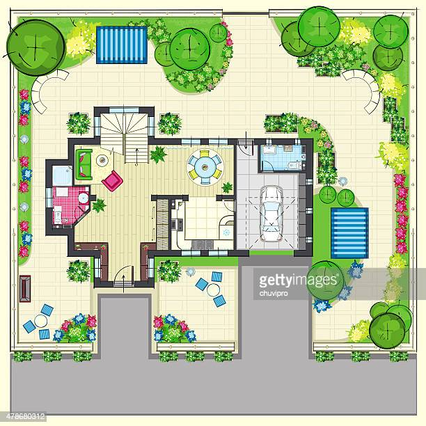 Residential House Plan With A Beautiful Garden Top View