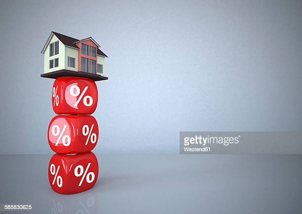 residential house standing on percentage sign cubes, 3d illustration - mortgage loan stock illustrations