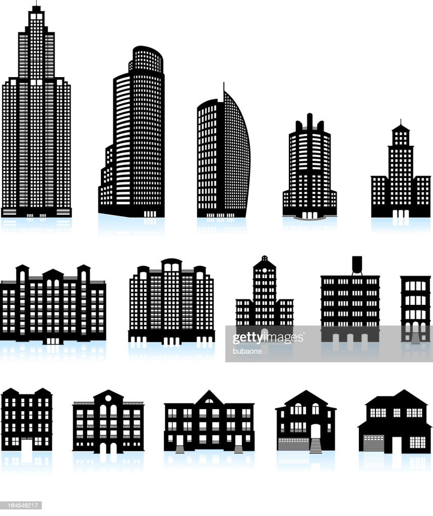 Residential real estate buildings black & white vector icon set
