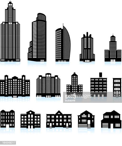 residential real estate buildings black & white vector icon set - skyscraper stock illustrations