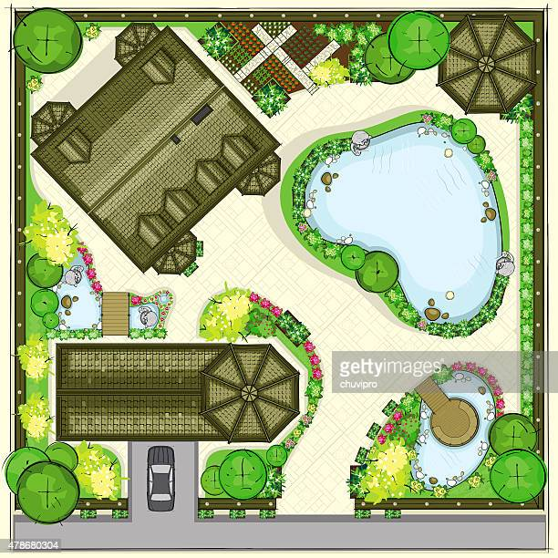Residential stead plan with a beautiful garden Top view