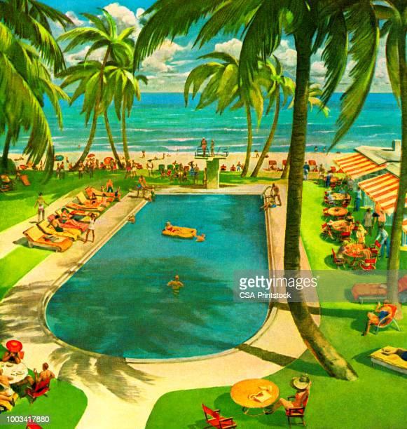 stockillustraties, clipart, cartoons en iconen met zwembad resort - verblijfsoord