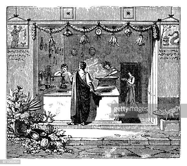 ilustraciones, imágenes clip art, dibujos animados e iconos de stock de restaurante en pompeya - pompeya